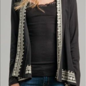 Lucky Brand 100% Cotton Embroidered Wrap in Black